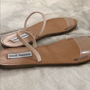 Steve Madden Shoes - clear & leather nude slides
